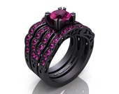 Modern Vintage 14K Matte Black Gold 1.0 Ct Pink Sapphire Solitaire Ring Double Wedding Band Bridal Set R322S2-14KMBGPS