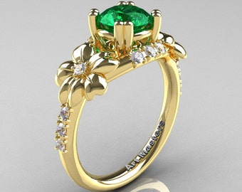 Nature Inspired 14K Yellow Gold 1.0 Ct Emerald Diamond Leaf and Vine Engagement Ring R245-14KYGDEM