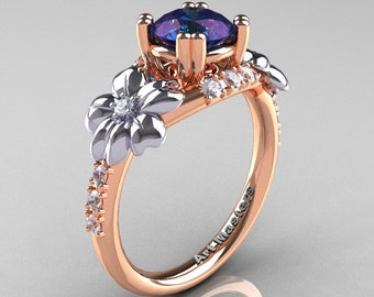 Nature Inspired 14K Rose Two-Tone White Gold 2.0 Ct Alexandrite Diamond Leaf and Vine Engagement Ring R245-14KTTRWGD2AL