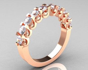 Modern Vintage 10K Rose Gold White Sapphire Designer Wedding Band R172-4-142-10KRGWS