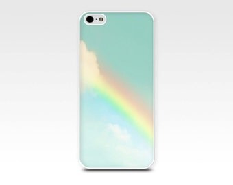 iphone 6 case rainbow iphone 6s case clouds iphone 5s iphone 5 case sky iphone 5s case art iphone 5 case aqua christmas gift for her
