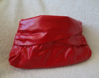 Vintage Red Vinyl Clutch Purse