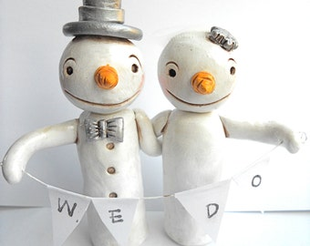 Winter Wedding Cake Topper Snowmen in Love for your Winter Wedding