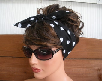 Fabric Headband Womens Headband Dolly Bow Retro Fashion Accessories Women Tie Up Head Scarf in Black with White Polka dots