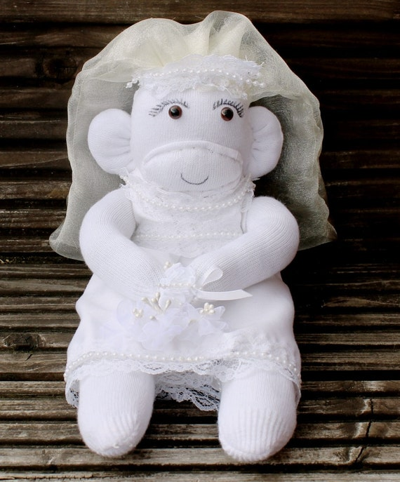 Vintage Style Bride Sock Monkey With Wedding Dress By Scratchycat