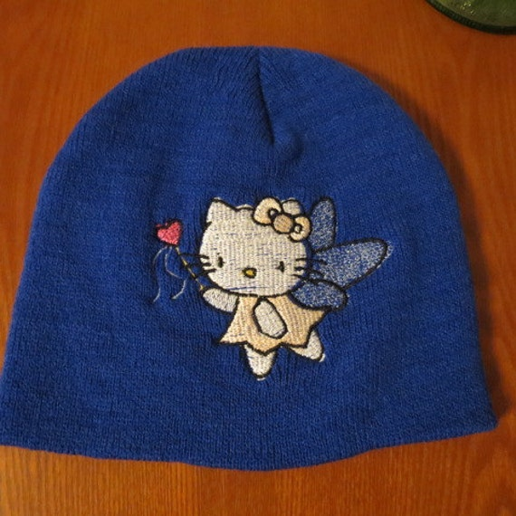 Blue Knit Beanie Hello Kitty Angel Embroidered on Knit Cap