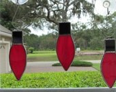 """Red Swirled Holiday """"Light"""" Ornament for your Christmas Tree or Holiday Package Embellishment"""