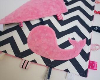 Baby girl NAUTICAL blanket - sensory toy lovey - pink navy shower gift chevron