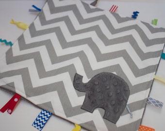 Grey chevron blanket lovey - Elephant nursery baby shower -  Gender neutral boy girl modern gift