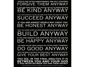 Mother Teresa's - Do it Anyway Poem - Ready to Hang Canvas Gallery Wrap or Luster Photo Paper - Sizes (8x10) (11x14) (16x20) (24x30)