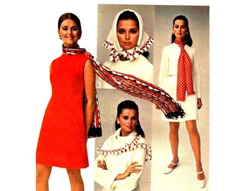 1960's A Line Dress Pattern with Scarf Tying Fashion Booklet and Patterns 5 Scarves Sleeveless Butterick 5593 Bust 36 Vintage Sewing Pattern