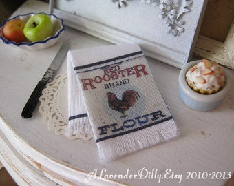 Red Rooster Brand Fringed Tea Towel for Dollhouse, 1:12 scale