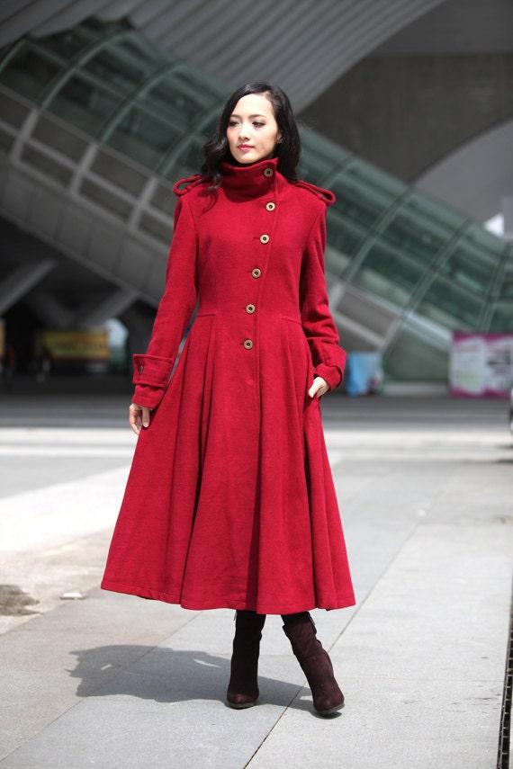 Wine Red Coat Big Sweep High Collar Women Wool by ...