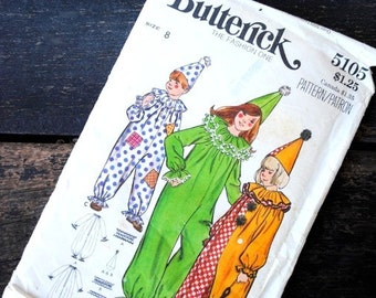 1960s Vintage Halloween Clown Costume Butterick 5105 Sewing Pattern, UNCUT Size 8 Childrens Boys Girls