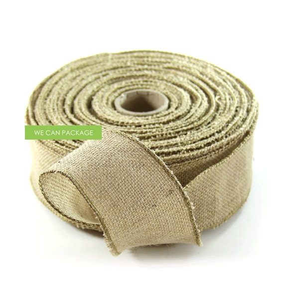 Sale 2 5 x 25 yards wired burlap ribbon jute craft for How to use burlap ribbon