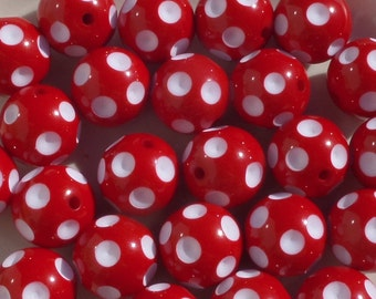 20MM Chunky Beads, Red Polka Dotted bubble gum chunky beads, D2