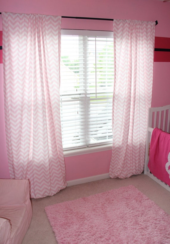 Items Similar To Light Pink And White Chevron Curtains