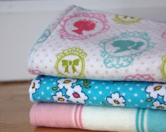 Baby Girl Burp Rags - Plaid - Pink, Teal, Green
