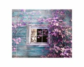 Mystical Cottage Window Teal Blue Orchid Pink Purple - Fine Art Photo - BrookeRyanPhoto