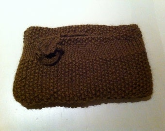 Chunky handknitted clutch bag with matching flower in mohair and lined