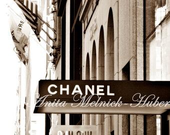 New York Photography-Madison Ave-Chanel Art- Boutique-Fashion Photography-French Decor-Sepia -Fashion Print-Diva-Fashionista-Black & White