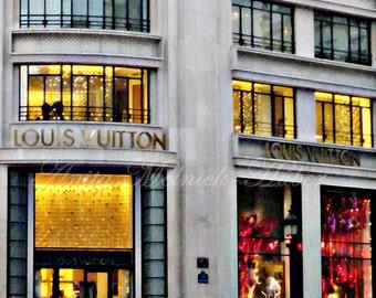 Paris Photograph- Louis Vuitton- Boutique -Fashion Photography- Fine Art -Champs Elysees-Shimmering-Sparkly-Gold-Dorm-Nursery-French-Travel