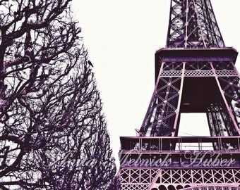 Paris Photography-8 x 10 Fine Art-Eiffel Tower- Purple- Preppy  Dorm Decor- Paris Decor-French Country-Fashion -Paris Quote-Parisian-Nursery