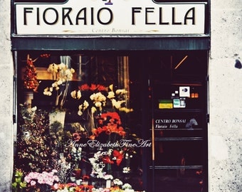 Italian Flower Shop-8 x 10 Fine Art Photograph-Market-Italy-Tuscan Decor-Tuscany-Mediterranean-Rustic-European- Travel-Floral-Hipster-Color