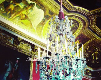 Versailles, Paris, French, 8 x 10 Fine Art Photograph,Chandelier, Marie Antoinette, Luxary, Rococo,Metallic, Gold, Gilded, Cherubs, Red,Dark