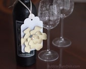 Wine Bottle Paper Flower Gift Tags Hang Tag Large 3x5 Cardstock Set of 2