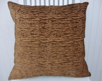 Brown Chenille Decorative Pillow Cover 18x18 or 20x20 or 22x22-Accent Pillow-- Accent Pillow--Brown