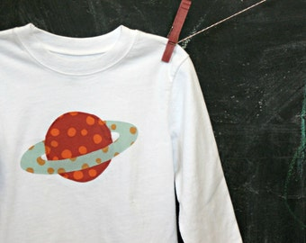Planet Appliqued T-shirt, Long-sleeve Blue and Orange Saturn, White Tee, Toddler Boy's Sizing, Children's Clothing, MADE-TO-Order