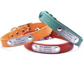 Leather Dog Collar with Laser Engraved Personalized Nameplate - 20 Colors
