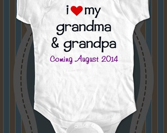 Custom Birth Announcement for grandparents Baby one piece or Infant Shirt