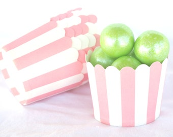 Small PiNk with white wide stripe-Nut/Candy/Baking Cups--25ct--Parties--cupcakes-gumballs-snacks