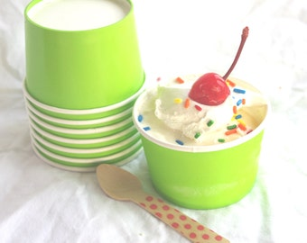 20LiTTLe  ICe CReaM CUPS with diy printables--GReeN-4oz-Party Favors-Ice Cream-Showers-Weddings-20ct