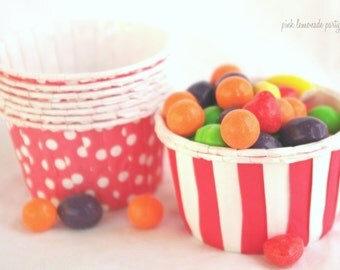Red Stripe and Polka Dot NuT/CANDy/PoRTiON CuPS-Gumballs, Snacks, Nuts, Cupcakes-Birthday Parties-Showers-25ct