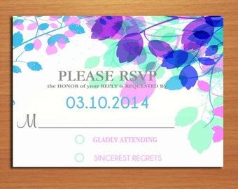 Spring Branches Wedding RSVP Postcard PRINTABLE / DIY