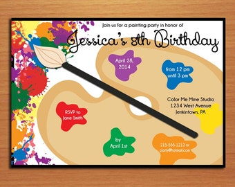 Painting Palette / Artist Customized Printable Birthday Party Invitation Cards DIY