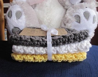 Crocheted Baby Washcloths in Gray, Yellow and White