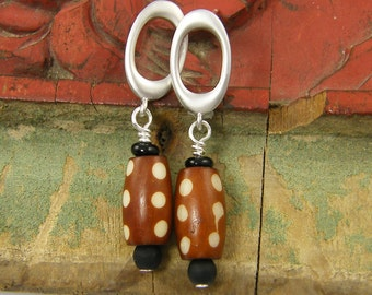 Tribal Silver Earrings Tribal Bone Earrings, Silver Oval Hoop Earrings with Brown Polka Dot Bone Bead Dangles |EC3-27