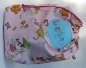 Laundry bag girls - pink glitter fairy princess print - drawstring storage