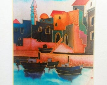 Vintage 90's Art Print  Picture of Old Jaffa Signd by the artist