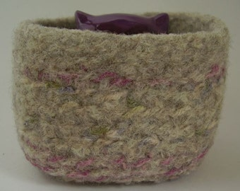 felted wool container square desktop organizer oatmeal rose cream sage periwinkle mix