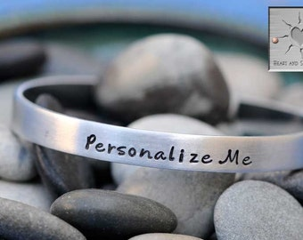 Personalized Hand Stamped Bracelet - Made to Order - Custom Narrow Aluminum Bracelet Cuff