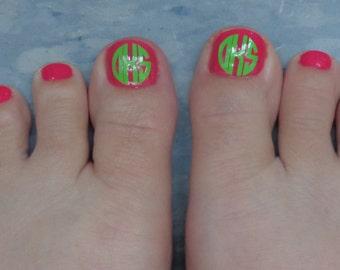 Set of 20 Mini Monogram Toe/Nail Decals