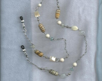 Eyeglass Lanyard or necklace, made with  glass & silver toned beads.