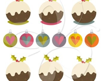Christmas Pudding and Bauble Clip Art Clipart set - Personal and Commercial use