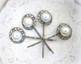 Pearl Hair Pins Set White Ivory Cream Wedding Bridal Hair Pin Bridesmaids Hair Accessories Gift Victorian Exotic Vintage Inspired Hair Slide