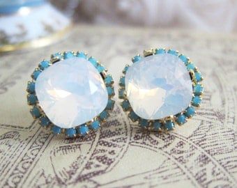 Opal Crystal Earrings White Swarovski Bridal Wedding Jewelry For Bride Rhinestone Moonstone Gold Studs Post Blue Turquoise White Gemstone